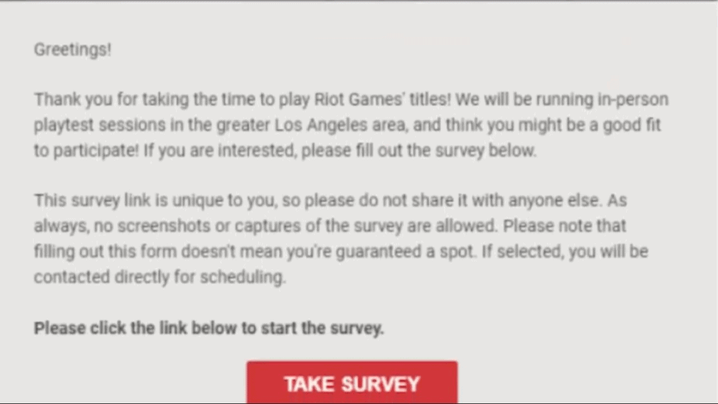Email survey for Project L playtest