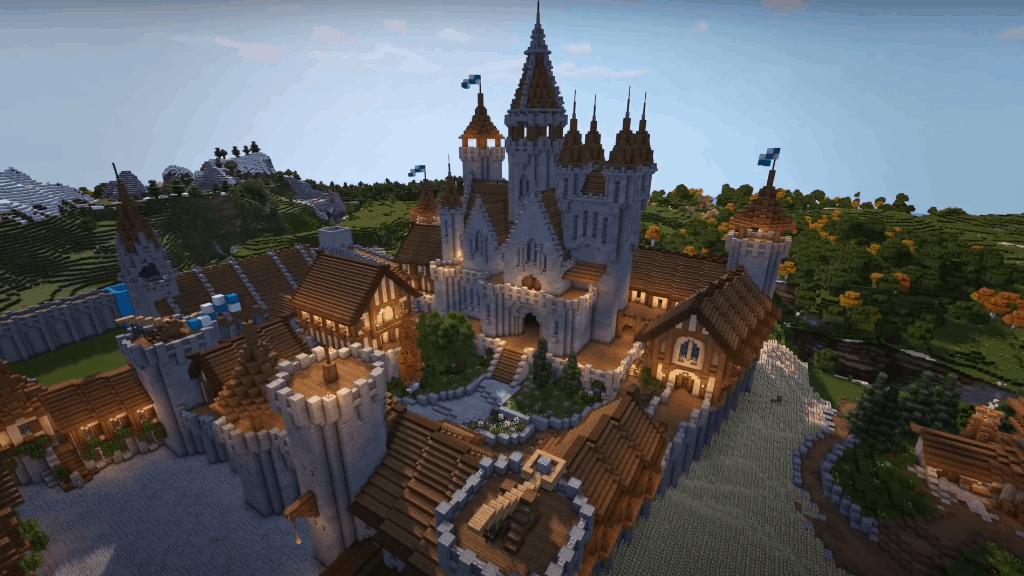 This expansive castle is one of the many cool things to build in Minecraft!