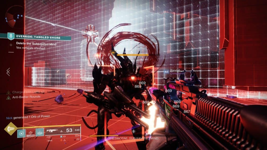 Destroy Vex Champions in the boss room of Override: Tangled Shore to collect their data spikes.
