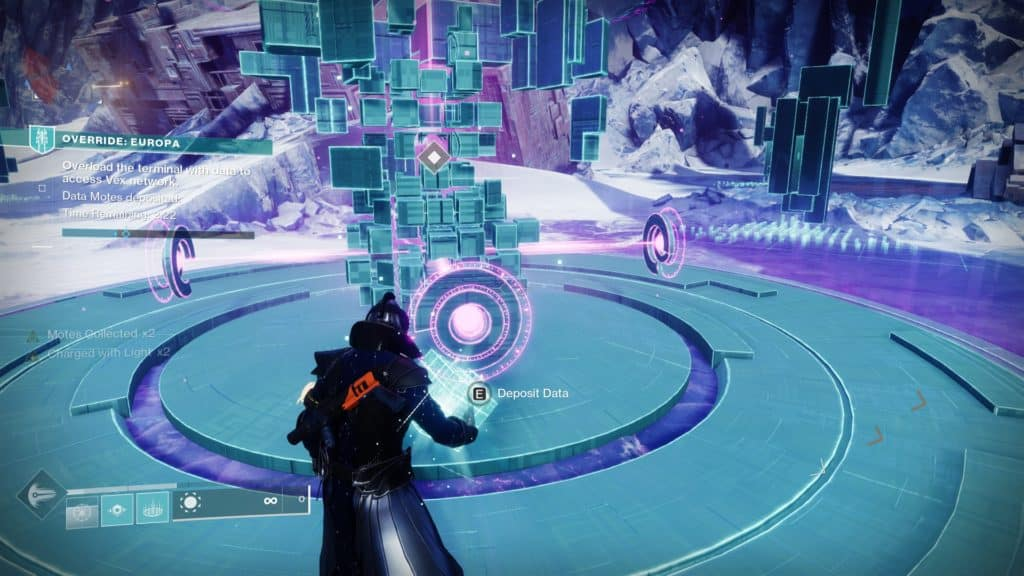 Overload the terminal in the Destiny 2 seasonal activity by depositing motes and data spikes.