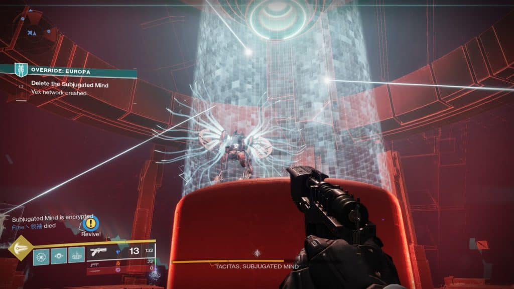 Destiny 2 Override: Europa boss encounter. Tacitas the Subjugated Mind is a large Vex Harpy.