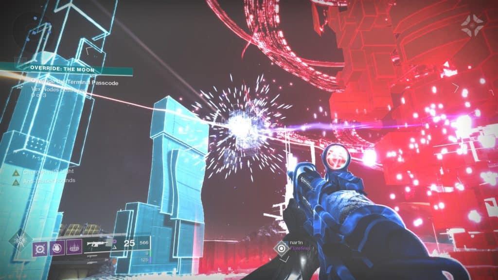 Destroy the Vex nodes around the terminal in Destiny 2 Override: Moon