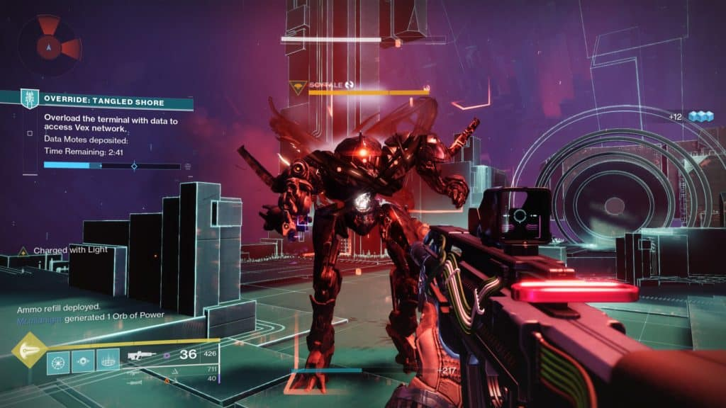 Kill the Vex Overload Champions called Scytales and steal their data spikes in Destiny 2