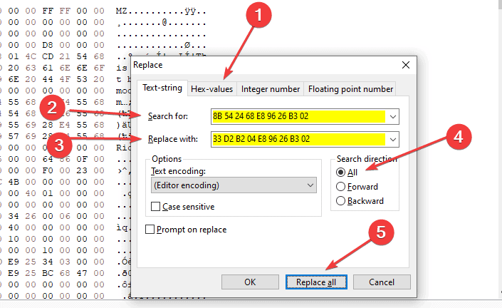 You can replace the hex values inside HxD by simply opening the replace window