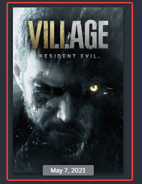 Resident Evil Village in Steam library shows up with this artwork