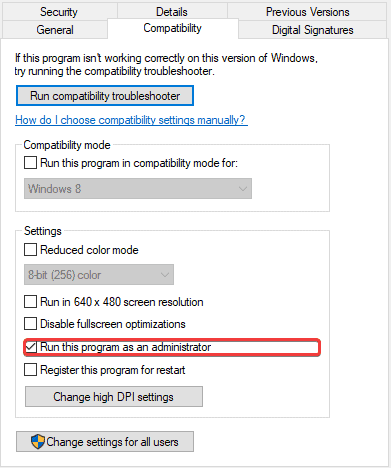 Checking this option will make sure the game runs as admin every single time