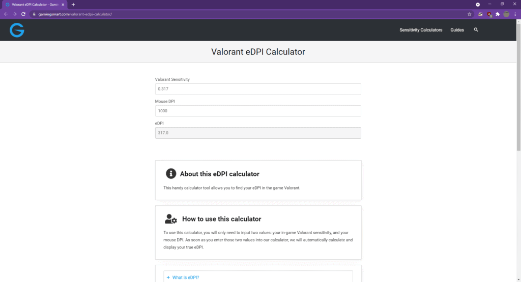 Valorant eDPI Calculator for finding your Valorant Sensitivity Settings