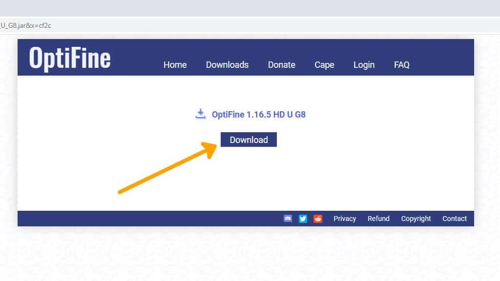 Final Optifine download button