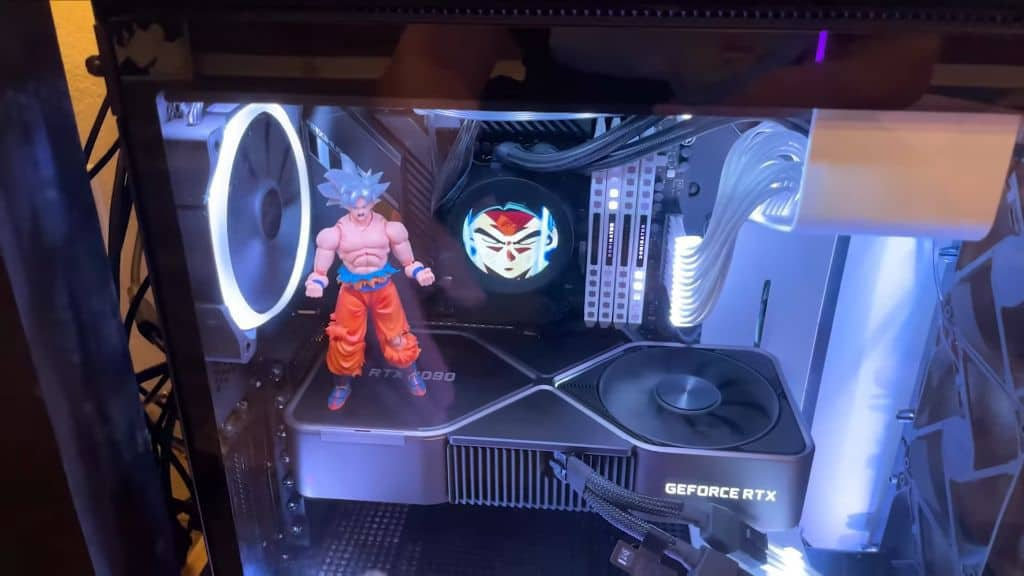 Goku decoration in the gaming rig by Nano Tech