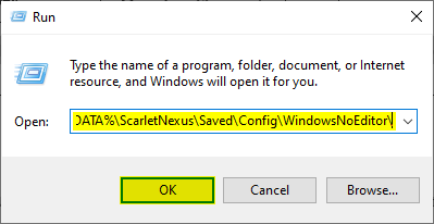 You can enter any location in Windows Run to quickly access it. In this case, it will allow you to disable the Scarlet Nexus chromatic aberration effect