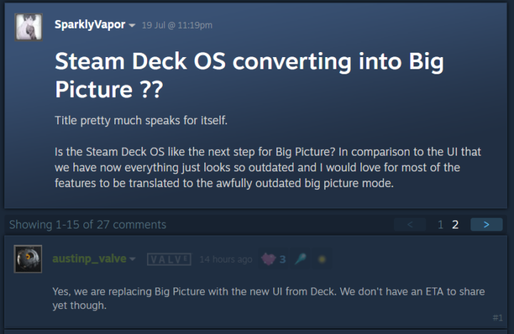 Steam Big Picture mode replaced