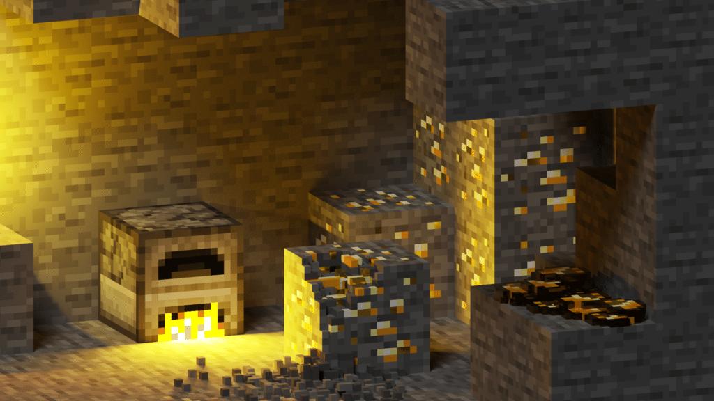 Background Image Minecraft Gold Mine