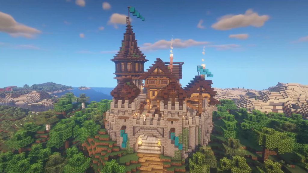How to Build Hill Castle Minecraft Video Tutorial