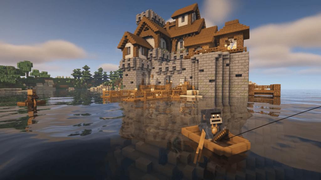 Island Fortress Castle Survival Base Minecraft Design