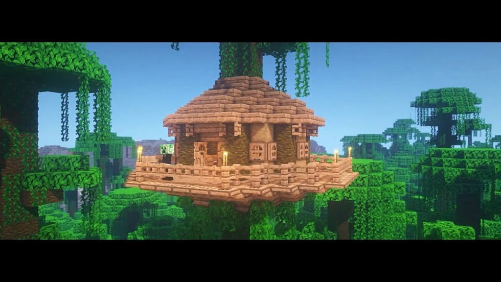 Simple Minecraft Starter House Ideas - Jungle Treehouse