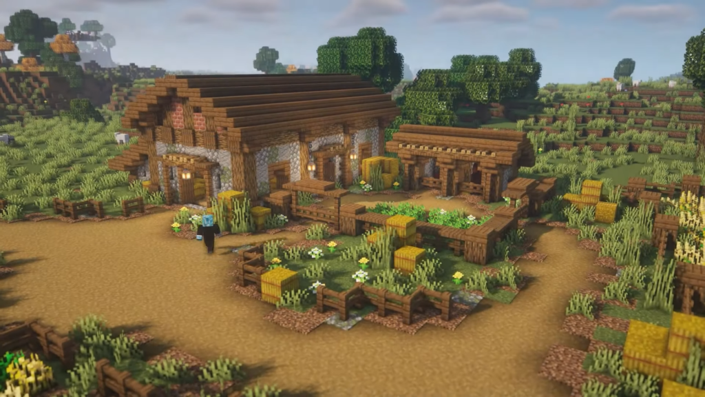 Stone and Wood Barn Best Minecraft Building Idea
