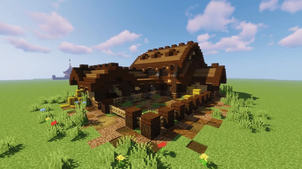 Wood Barn Animal Pen Minecraft Survival Hardcore