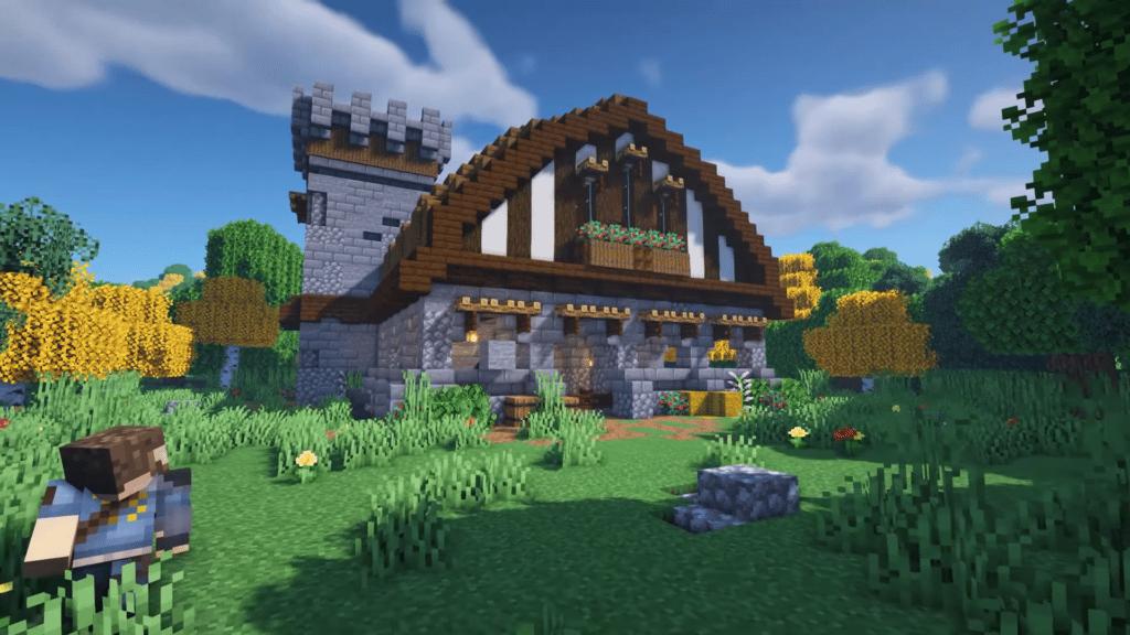 Minecraft Building Design Stone Barn 1