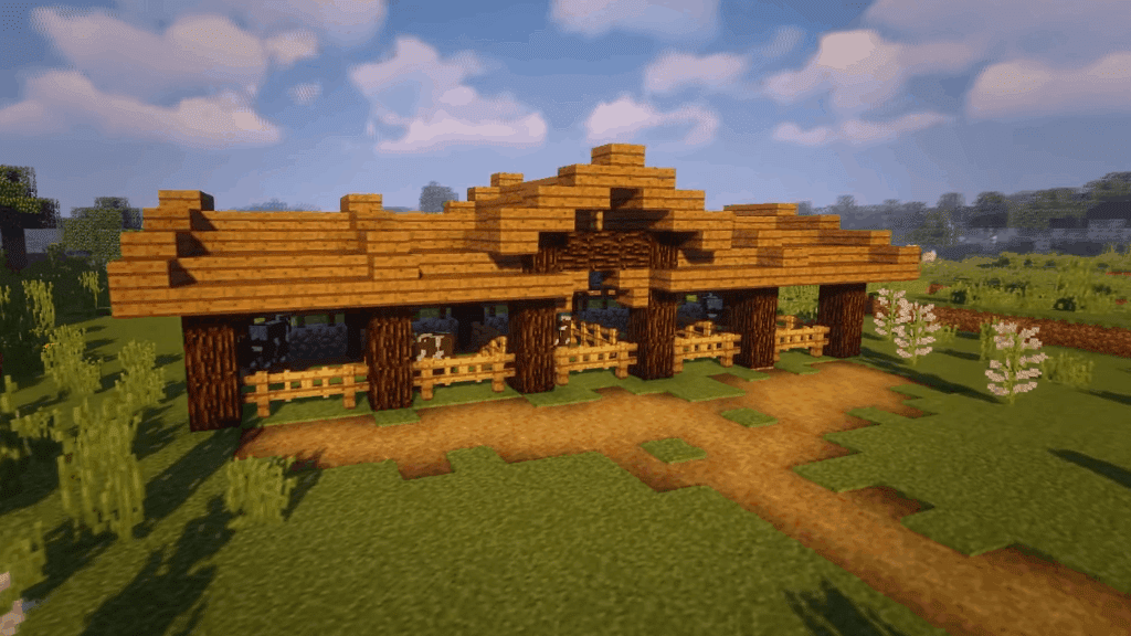 These stables are one of the many cool things to build in Minecraft!