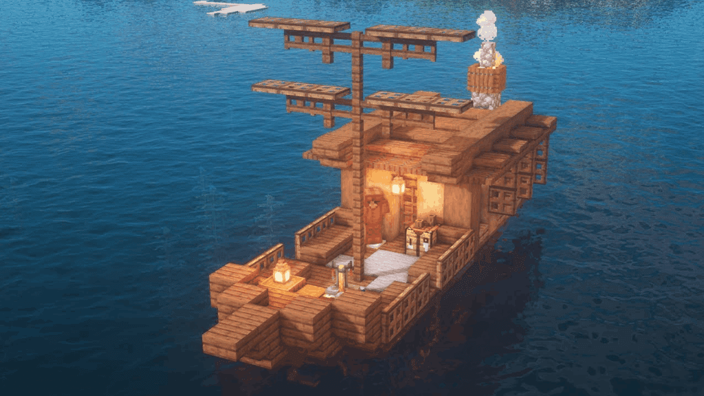 This boat starter house is one of many epic Minecraft ideas.