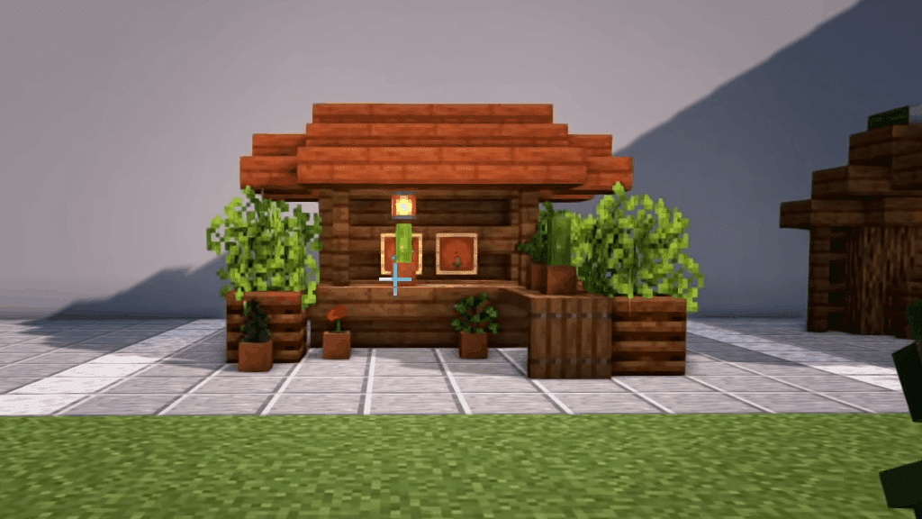 These outside village decorations are one of many epic Minecraft ideas.