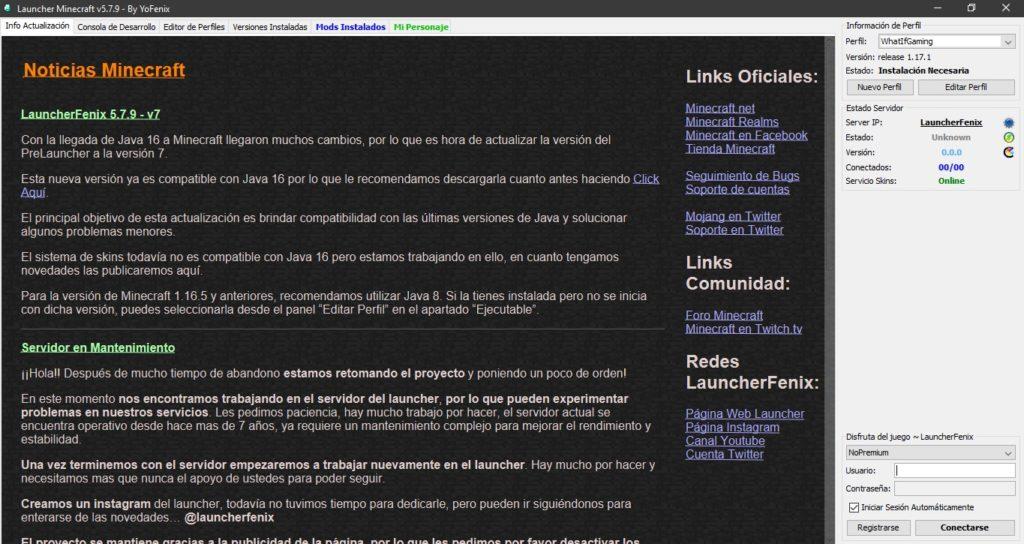 Spanish Minecraft Launcher Fenix No Premium