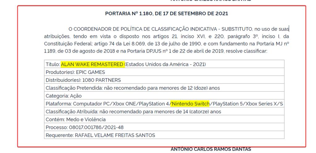 Alan Wake Remastered for Nintendo Switch Rating