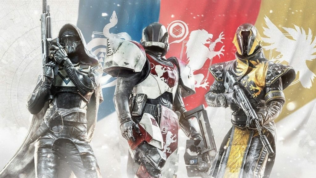 The Hunter (left), Titan (middle), and Warlock (right) classes in Destiny 2