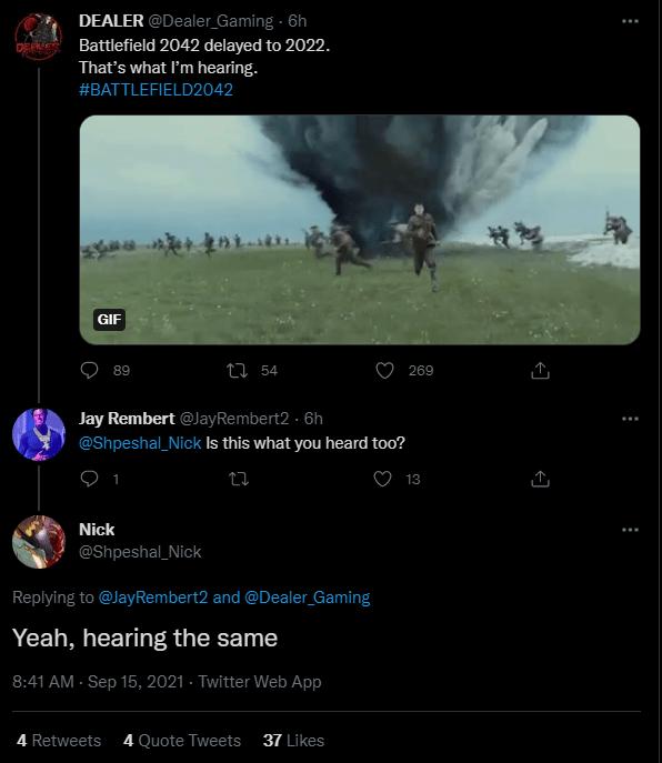 Multiple insiders confirming Battlefield 2042 delay