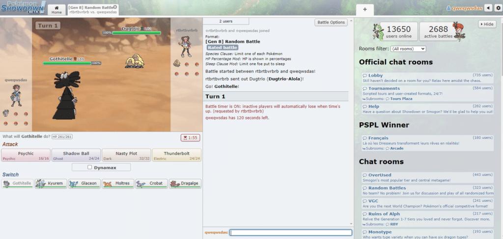 1v1 Gen 8 Random Battle in Pokémon Showdown