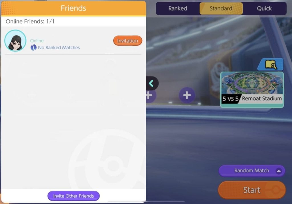 You can invite friends in Pokemon Unite, and check their statuses