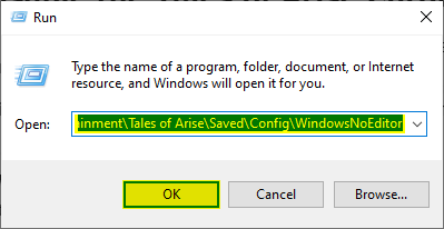 Windows Run allows you to access any folder quickly further allowing you to disable Tales of Arise chromatic aberration