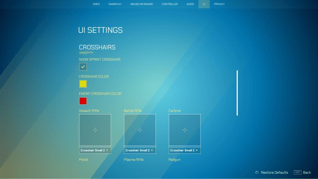 Best UI Crosshair Settings for Splitgate