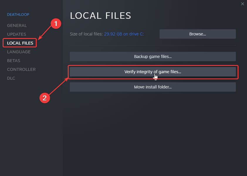 Verifying the game files can potentially fix the Deathloop crash at launch issue